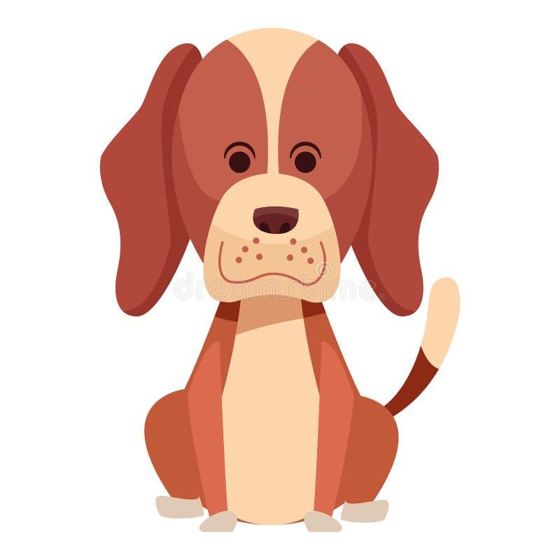 Fumetto di seduta dell'icona del cane sveglio illustrazione vettoriale