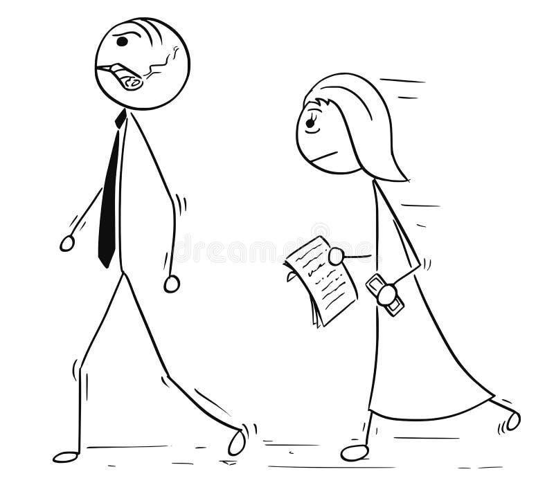 Fumetto di seguire di aiuto di Walking With Female del responsabile del capo illustrazione di stock