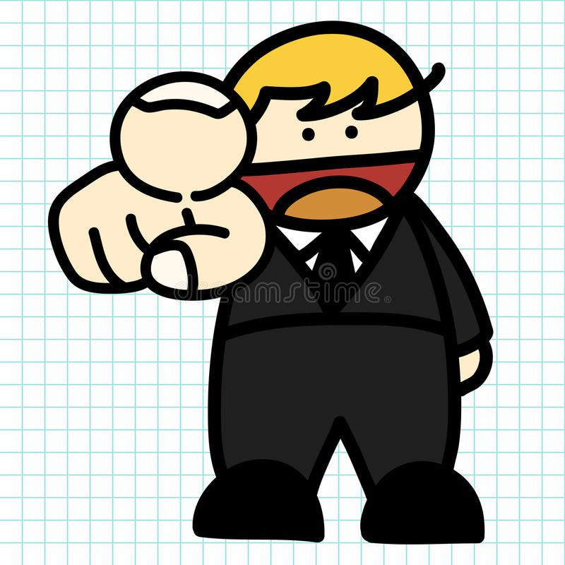 Fumetto di tiraggio della mano dell'uomo di affari. royalty illustrazione gratis