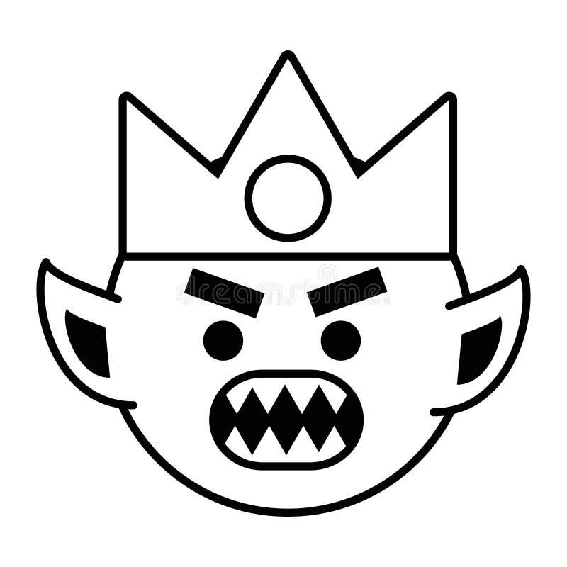 Fumetto di Troll con l'illustrazione di vettore di progettazione del casco di vichingo illustrazione di stock