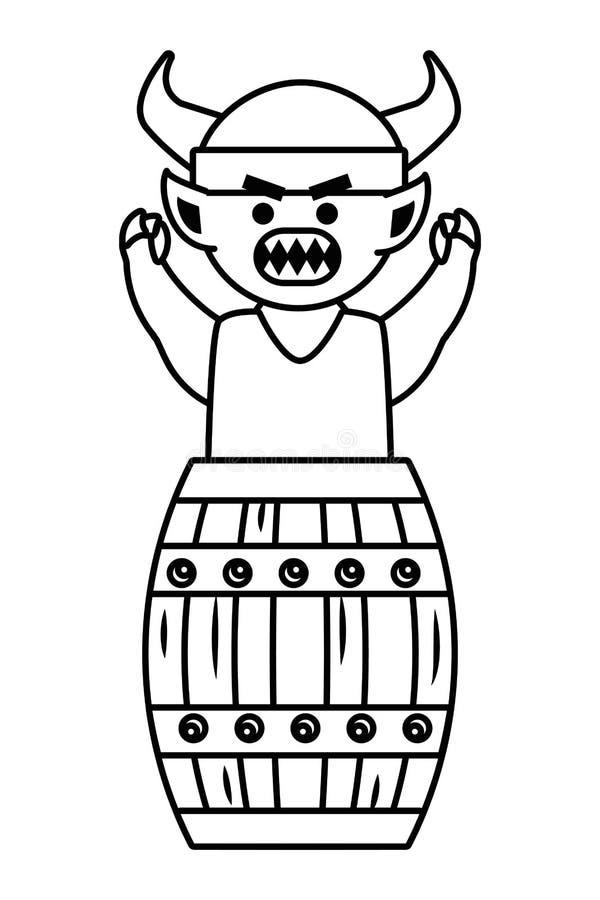 Fumetto di Troll con l'illustrazione di vettore di progettazione del casco di vichingo illustrazione vettoriale