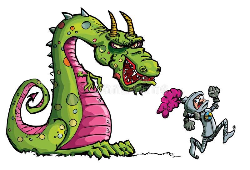 Fumetto di un cavaliere che si allontana da un drago feroce illustrazione vettoriale