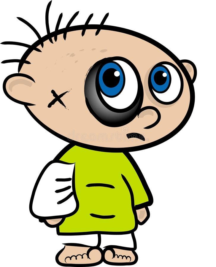 Fumetto di un ragazzo danneggiato illustrazione di stock