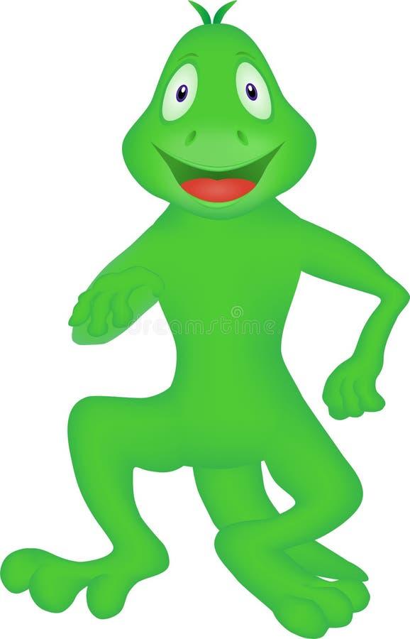 Fumetto di una lucertola che balla con la gioia illustrazione di stock