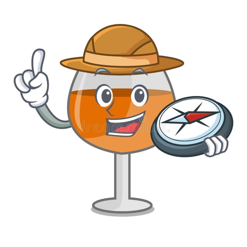 Fumetto di vetro della mascotte di impulso del cognac dell'esploratore royalty illustrazione gratis