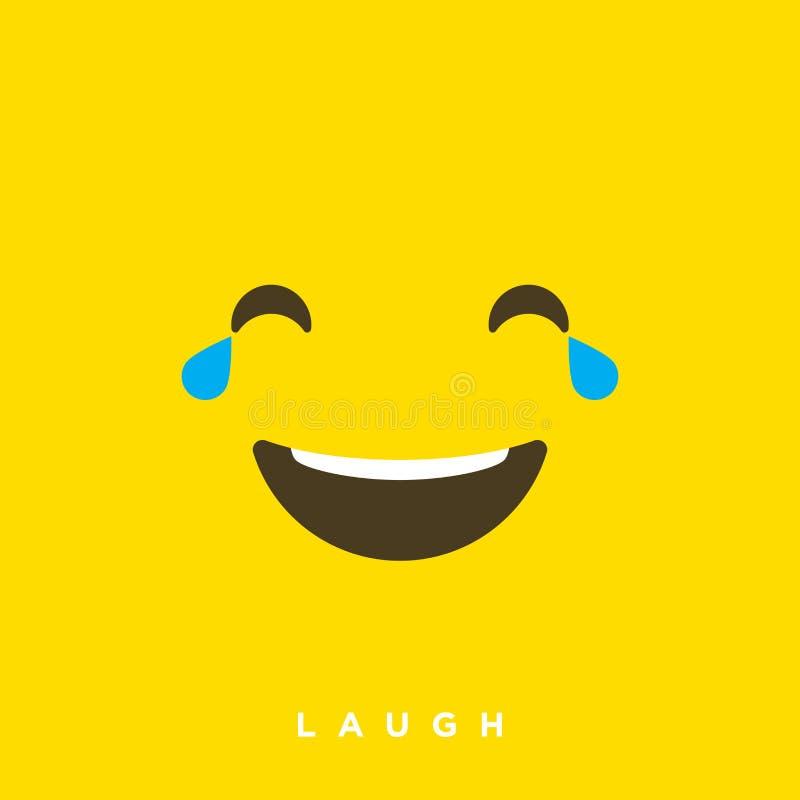 Fumetto di vettore di alta qualità con gli emoticon di risata con stile piano di progettazione, reazioni sociali di media - vetto illustrazione vettoriale