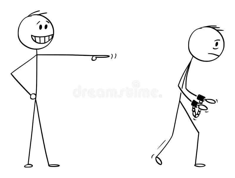 Fumetto di vettore dell'uomo d'affari Making una derisione di un altro uomo che va imprigionare con i dispositivi d'ancoraggio o  royalty illustrazione gratis