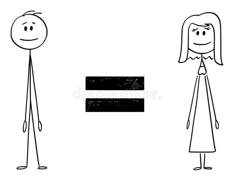 Fumetto di vettore dell'uomo e della donna e segno uguale fra loro illustrazione di stock
