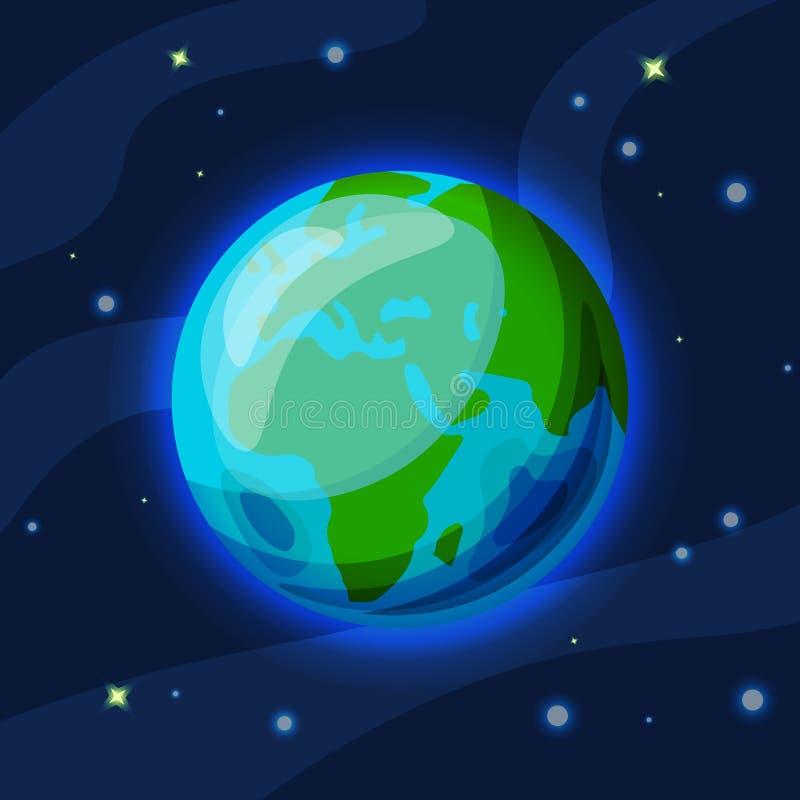 Fumetto di vettore della terra ed illustrazione piana Pianeta verde e blu della terra nello spazio stellato con l'ardore dell'atm illustrazione vettoriale