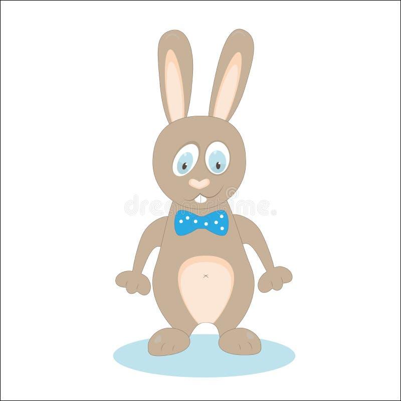 Fumetto diritto del coniglio su bianco uso dell'arco Vettore illustrazione vettoriale