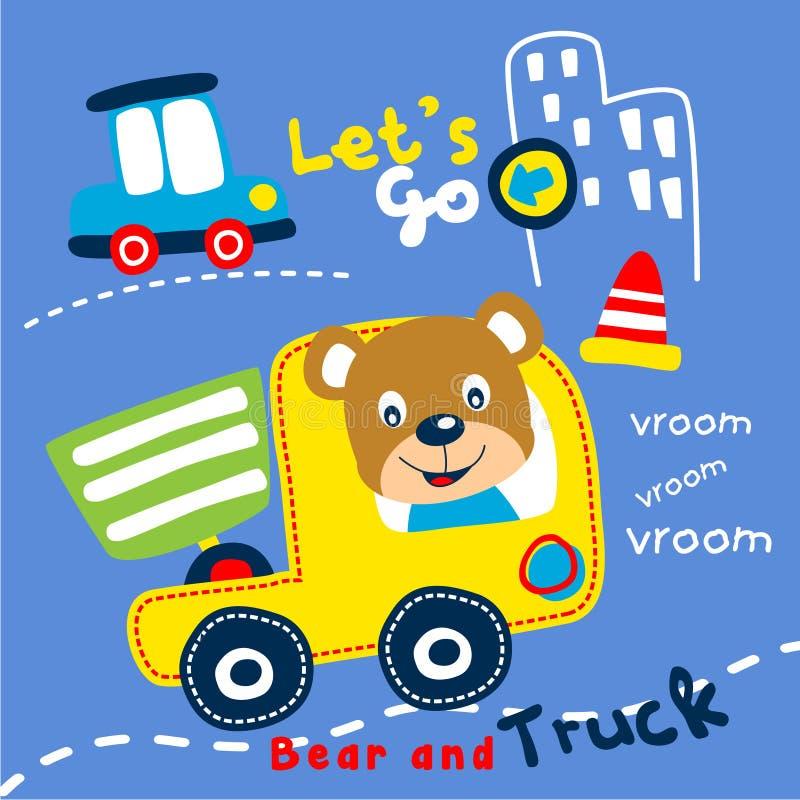 Fumetto divertente del camion e dell'orso, illustrazione di vettore fotografia stock