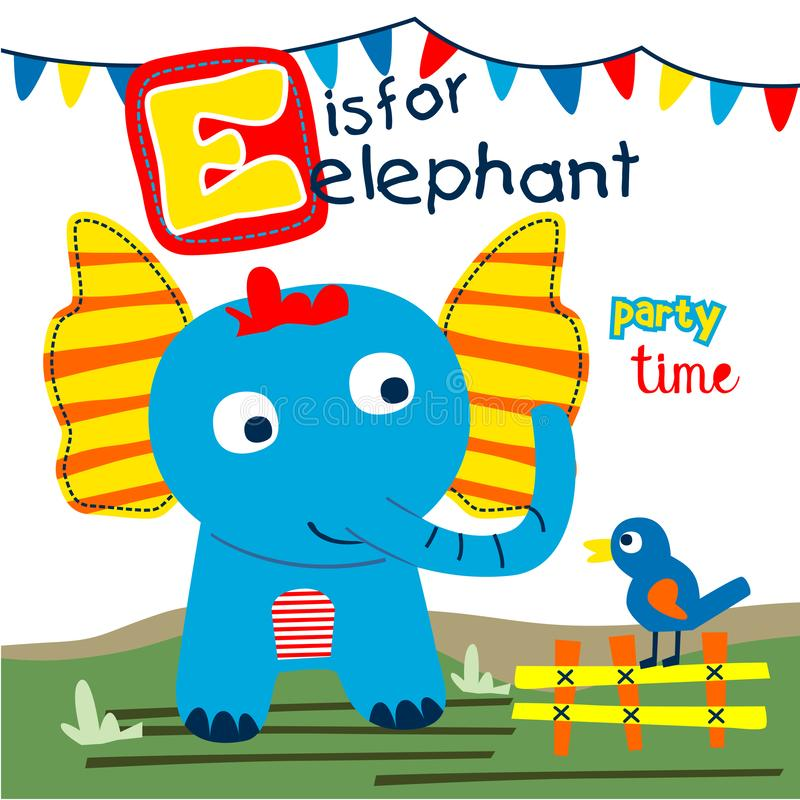 Fumetto divertente dell'uccello e dell'elefante, illustrazione di vettore fotografia stock