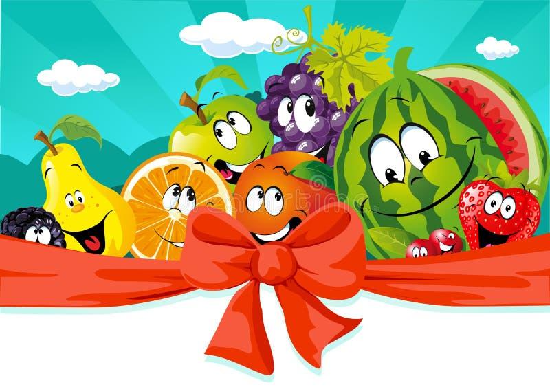 Fumetto divertente della frutta su progettazione dell'insegna - vettore illustrazione di stock