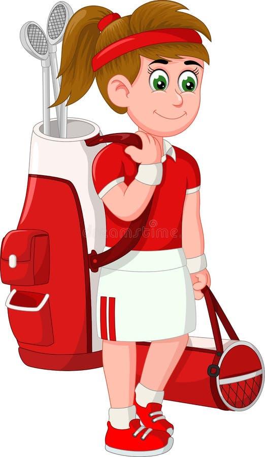 Fumetto divertente della ragazza di golf illustrazione di stock