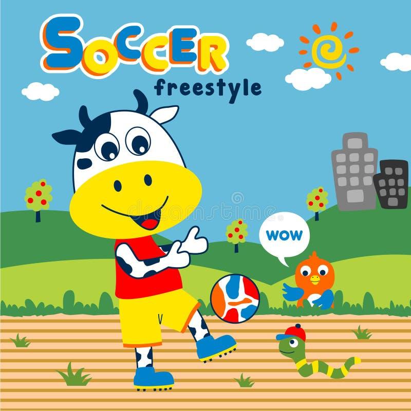 Fumetto divertente di calcio animale, illustrazione di vettore fotografia stock libera da diritti