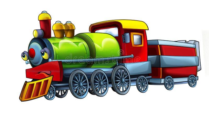 Fumetto divertente e treno a vapore di sguardo felice - isolato su fondo bianco illustrazione vettoriale
