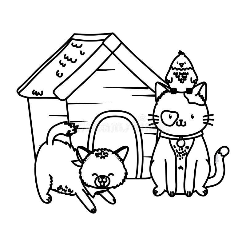 Fumetto divertente sveglio degli animali domestici royalty illustrazione gratis