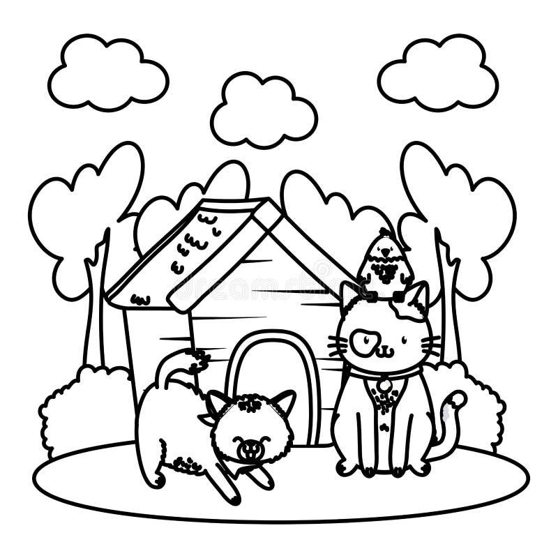 Fumetto divertente sveglio degli animali domestici illustrazione vettoriale