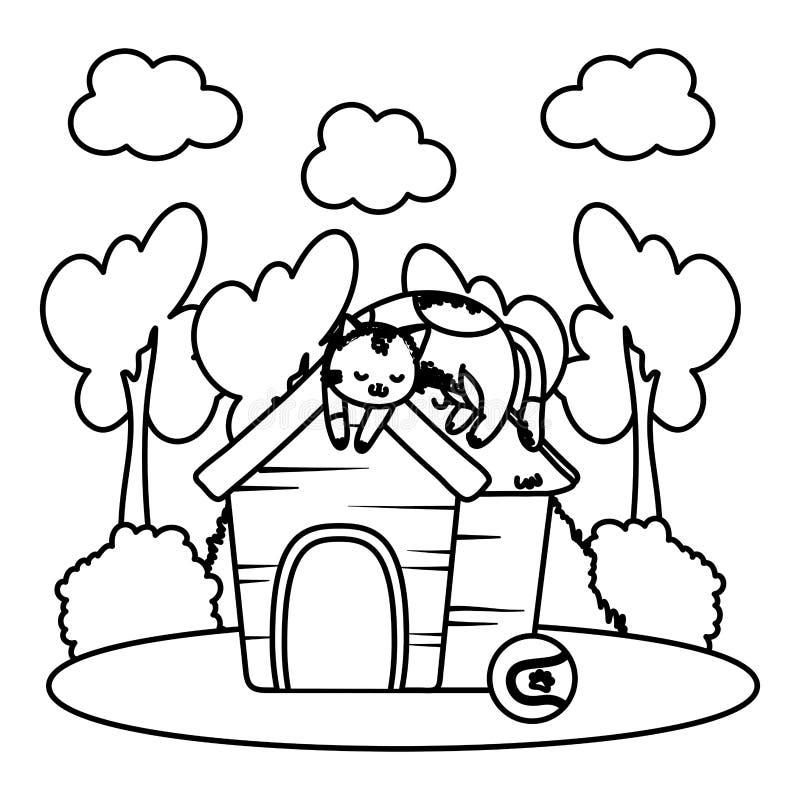 Fumetto divertente sveglio dell'animale domestico illustrazione vettoriale