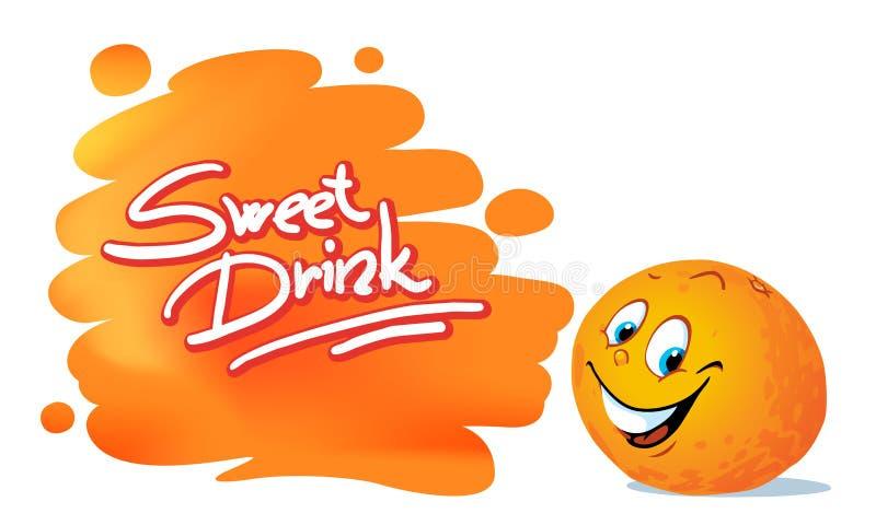 Fumetto dolce dell'agrume della frutta del succo d'arancia - vettore illustrazione vettoriale