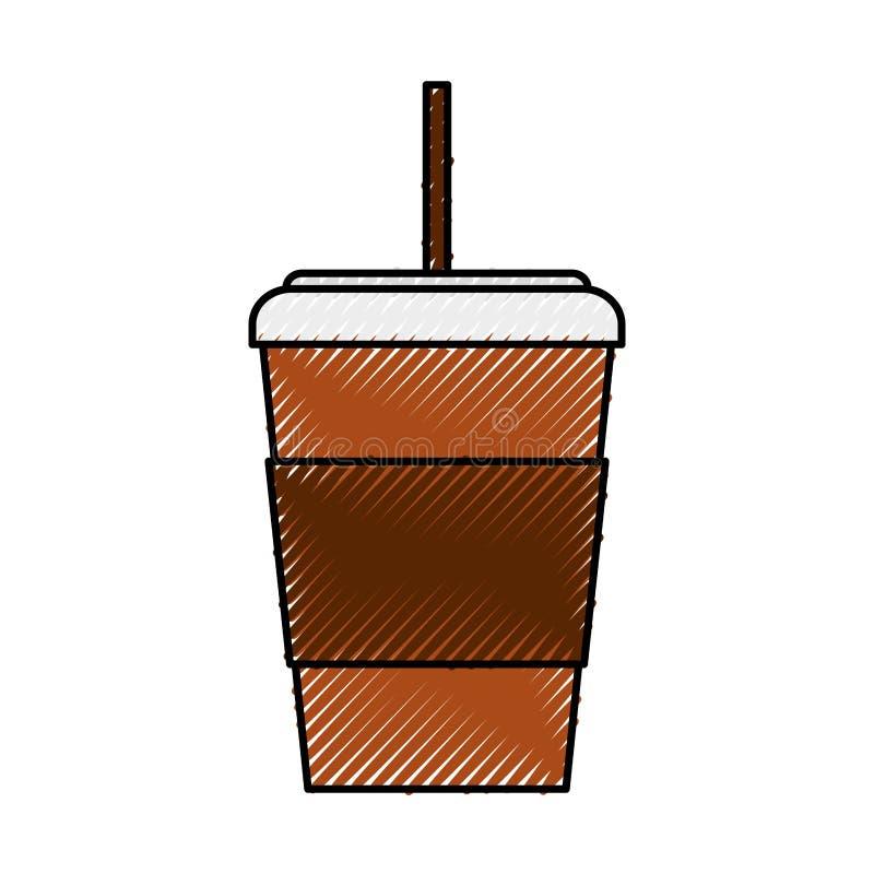 Fumetto eliminabile della tazza di caffè dello scarabocchio illustrazione vettoriale