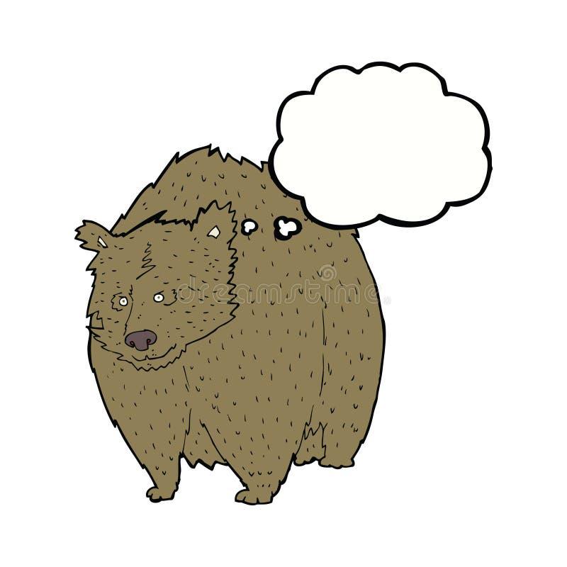 fumetto enorme dell'orso con la bolla di pensiero illustrazione vettoriale