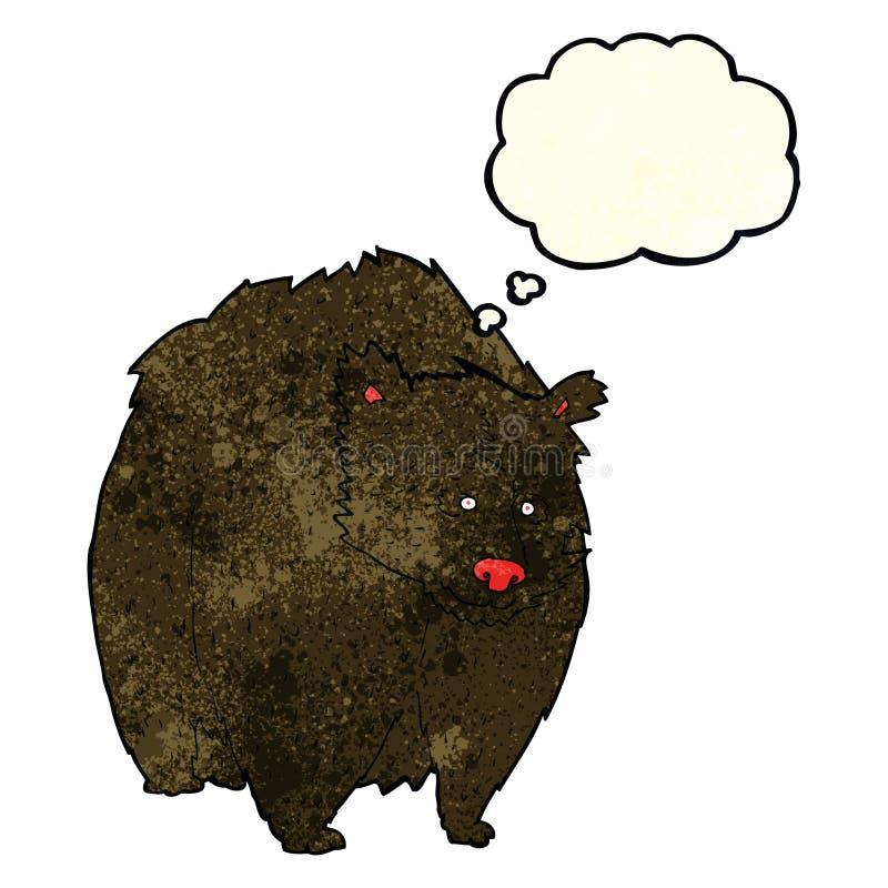 fumetto enorme dell'orso nero con la bolla di pensiero illustrazione vettoriale