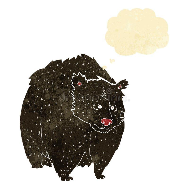 fumetto enorme dell'orso nero con la bolla di pensiero illustrazione di stock