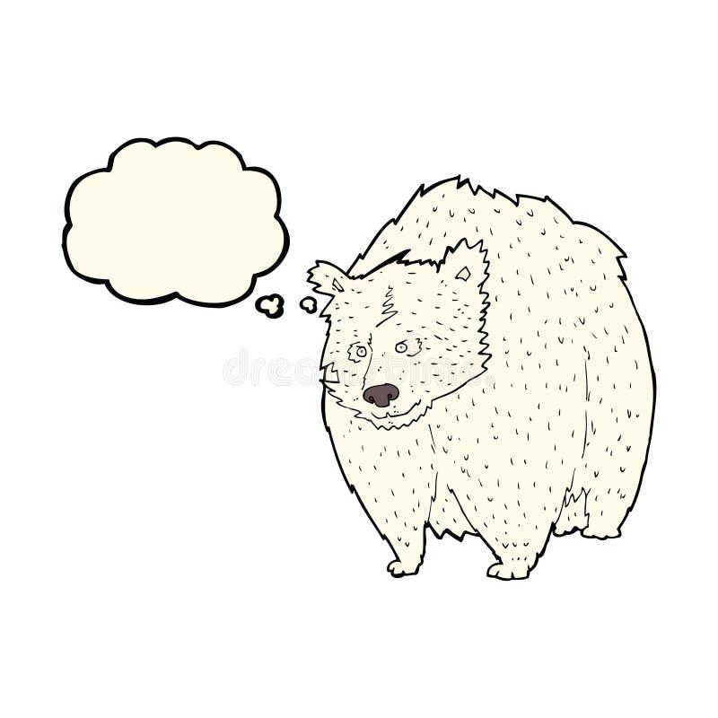 fumetto enorme dell'orso polare con la bolla di pensiero illustrazione di stock