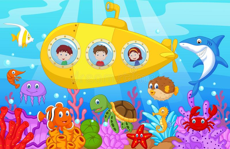 Fumetto felice dei bambini in sottomarino sul mare illustrazione di stock