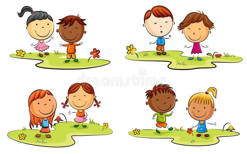 Fumetto felice del bambino che gioca sul prato inglese verde illustrazione vettoriale