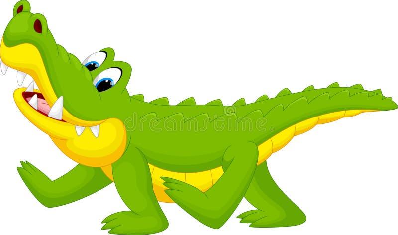 Fumetto felice del coccodrillo di divertimento illustrazione vettoriale