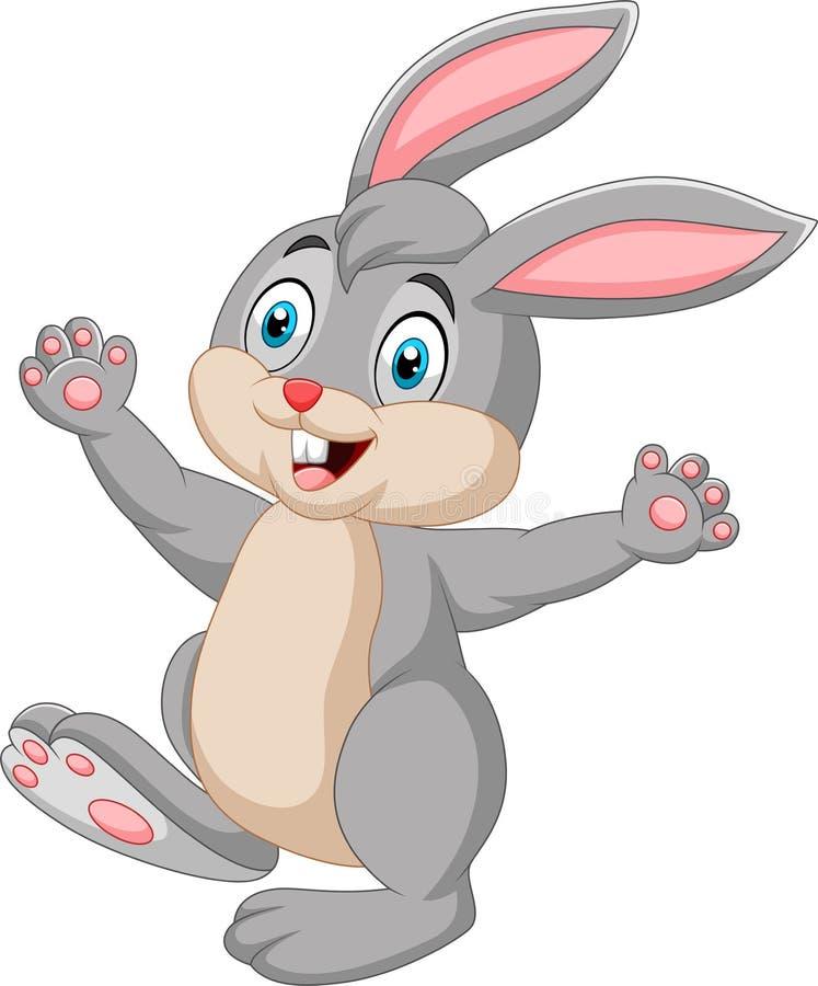 Fumetto felice del coniglio isolato su fondo bianco illustrazione vettoriale