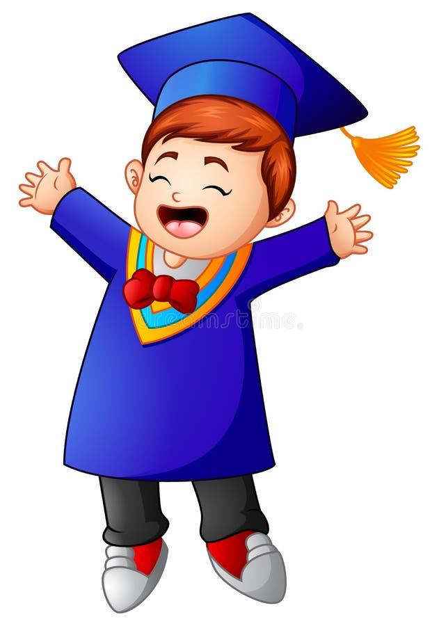 Fumetto felice del ragazzo di graduazione illustrazione vettoriale