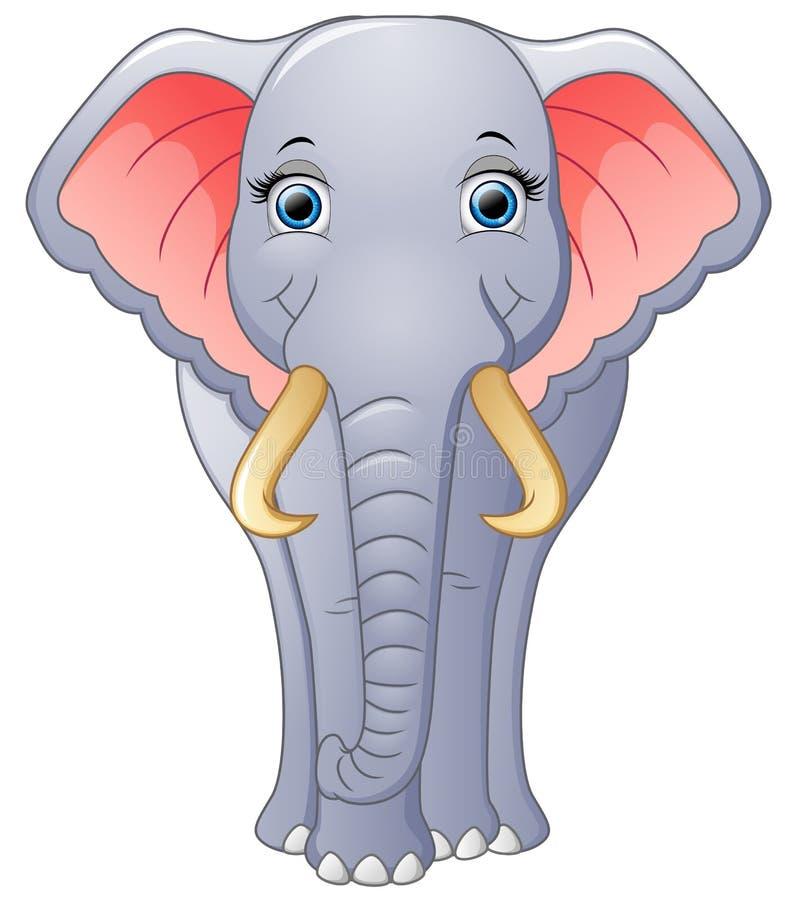 Fumetto felice dell'elefante isolato su fondo bianco royalty illustrazione gratis