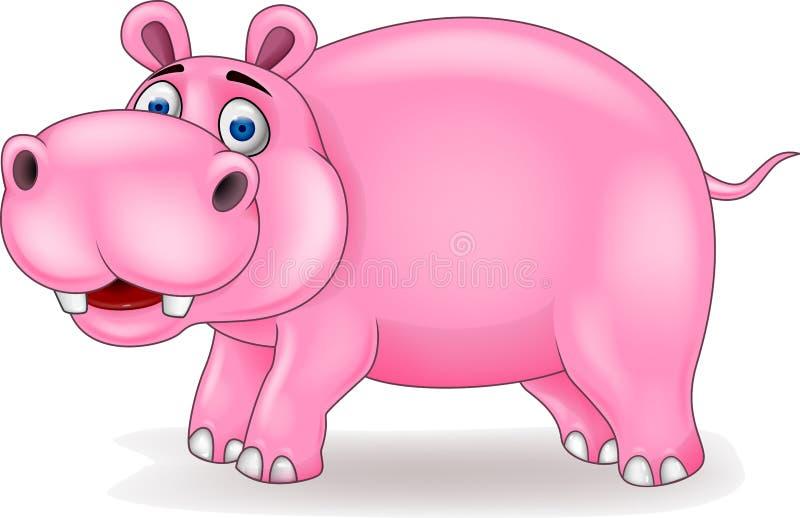 Fumetto felice dell'ippopotamo illustrazione vettoriale