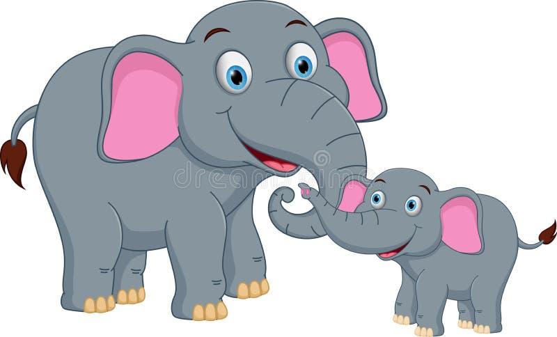 Fumetto felice della famiglia dell'elefante illustrazione di stock