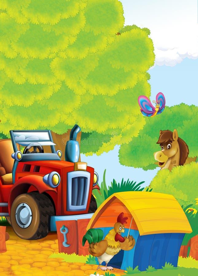 Fumetto felice e scena dell'allegra fattoria con il trattore - automobile per le mansioni differenti illustrazione di stock