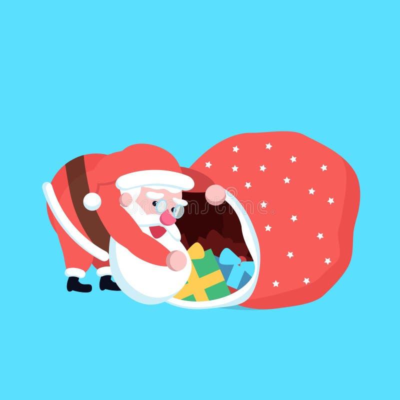 Fumetto felice sveglio Santa Claus che cerca o che guarda qualcosa dentro illustrazione vettoriale