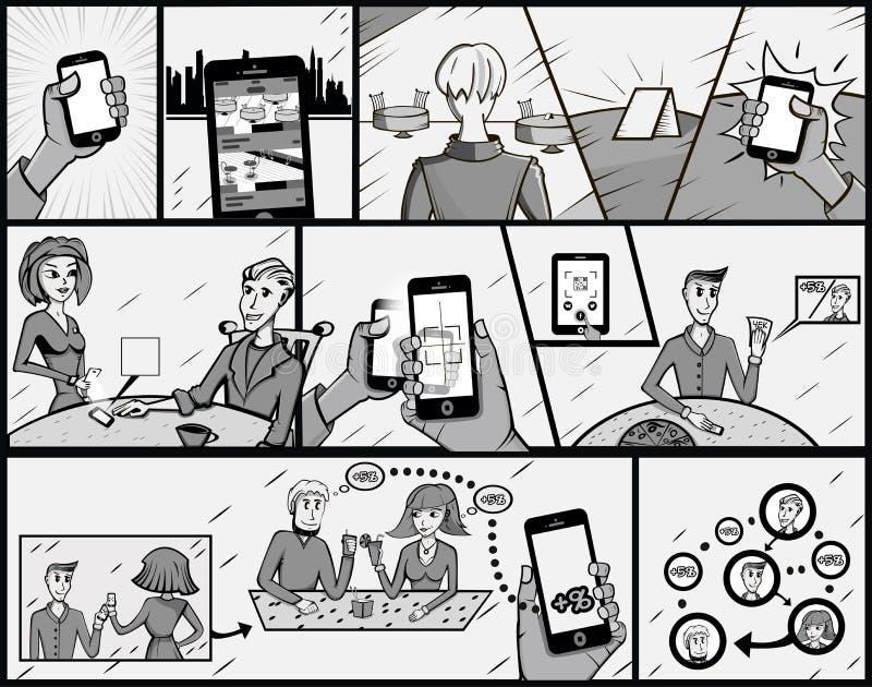 fumetto Illustrazione di vettore Retro stile di Pop art Un impiegato segue una farfalla immagine stock
