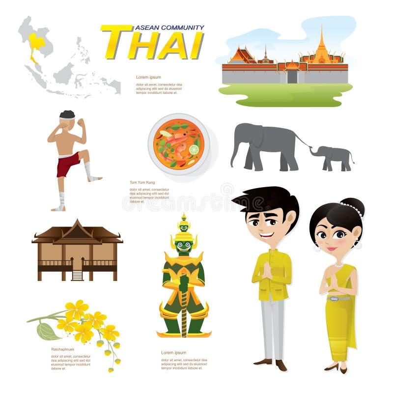 Fumetto infographic della comunità del asean della Tailandia illustrazione di stock