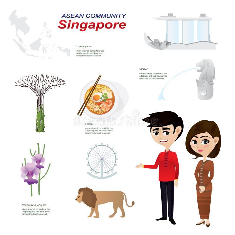 Fumetto infographic della comunità del asean di Singapore illustrazione di stock