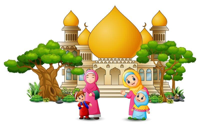 Fumetto islamico felice dei bambini che gioca davanti ad una moschea illustrazione vettoriale