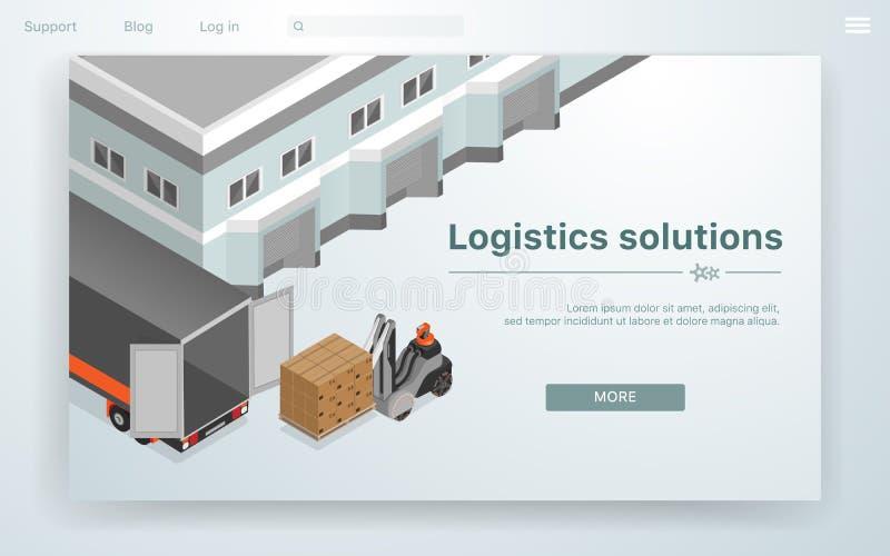Fumetto logistico delle soluzioni dell'insegna di vettore pianamente illustrazione di stock