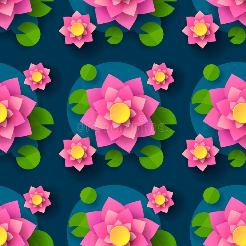 Fumetto Lotus Background For Printing Design senza cuciture Elemento decorativo Priorit? bassa senza giunte astratta Stampa di ve illustrazione vettoriale