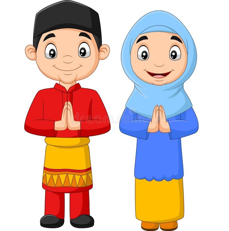 Fumetto musulmano felice dei bambini su fondo bianco illustrazione vettoriale