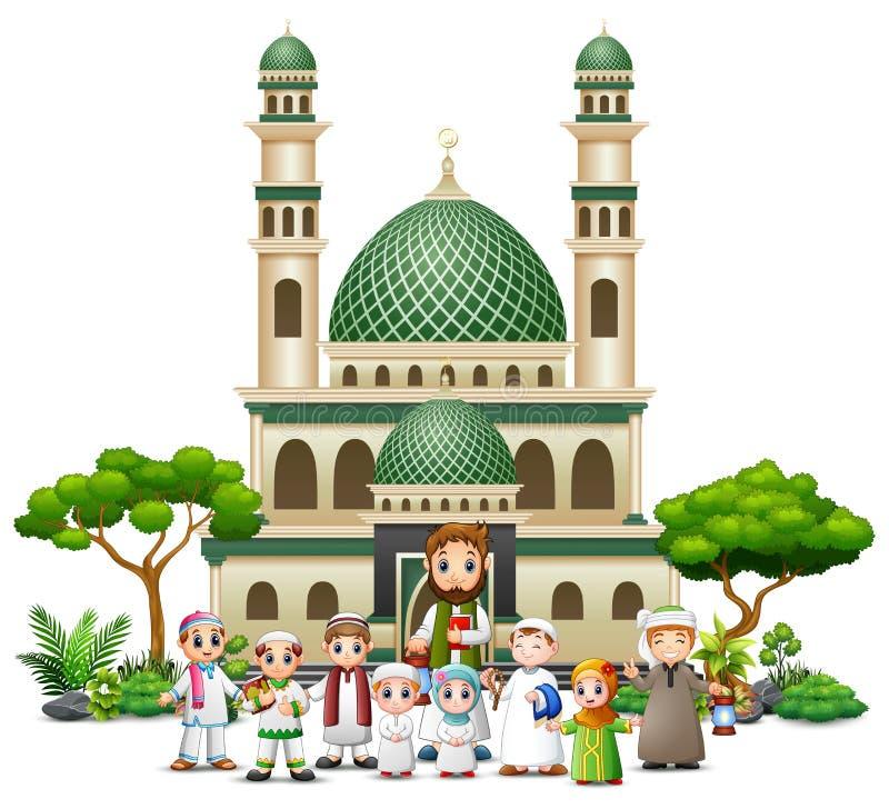 Fumetto musulmano felice della famiglia davanti ad una moschea illustrazione vettoriale