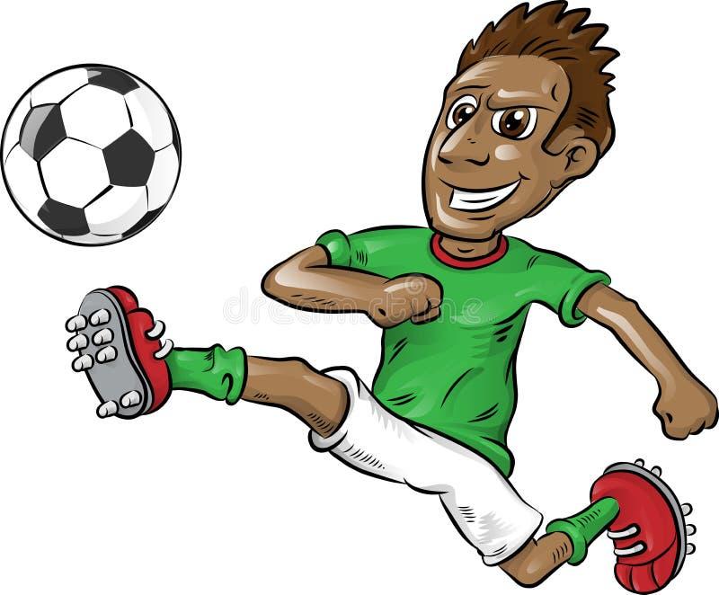 Fumetto nigeriano del calciatore di divertimento illustrazione vettoriale