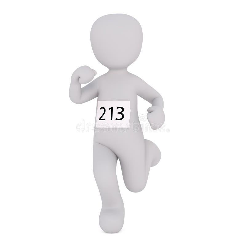 Fumetto numero d'uso 213 del corridore nella corsa maratona illustrazione di stock