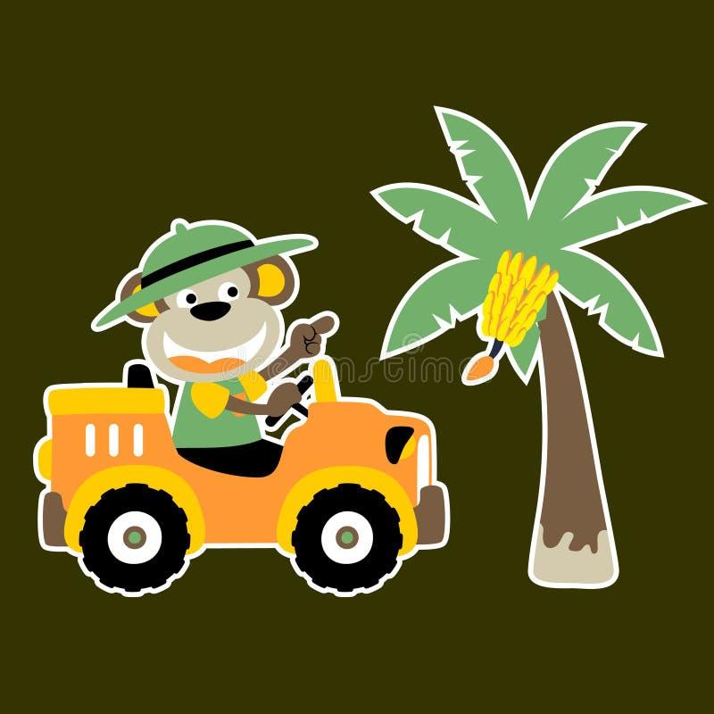 Fumetto piacevole della scimmia sull'automobile con un banano illustrazione vettoriale